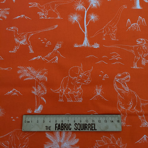 Orange Dinosaur Outlines - Natural History Museum Fabric