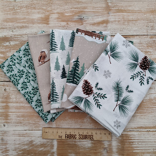 Snowy Woodland Cabins and Pine Trees Fabric - Christmas Material - Fat Quarters
