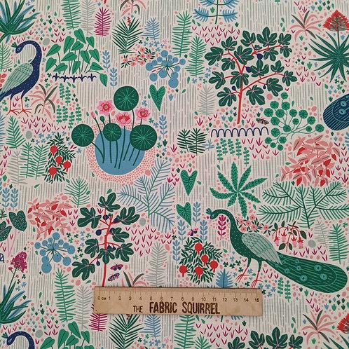 Peacock Fabric - Simple Floral Design from Figo Fabrics Glasshouses