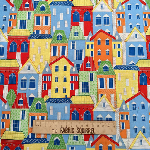 Colourful Town Houses - Move N Along Fabric Collection