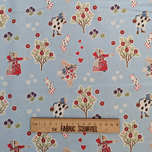 Queen of Hearts on Blue - Alice in Wonderland Fabric - V&A
