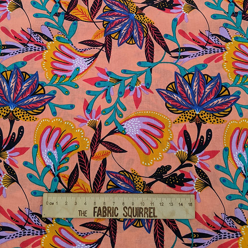 Tropical Leaves on Orange - Tropical Leopard Fabric Collection