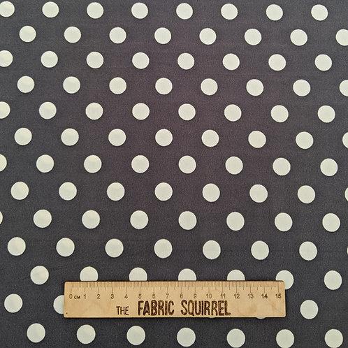 Grey and White Polka Dot Stretch Dressmaking Material - Polyester/Lycra Blend