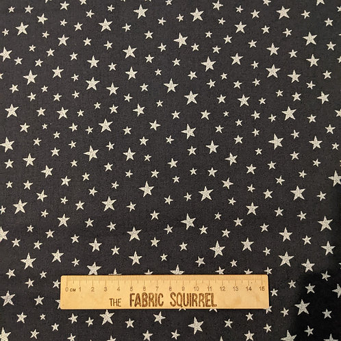 Black and Silver Metallic Star Fabric - Lewis and Irene Marvellous Metal