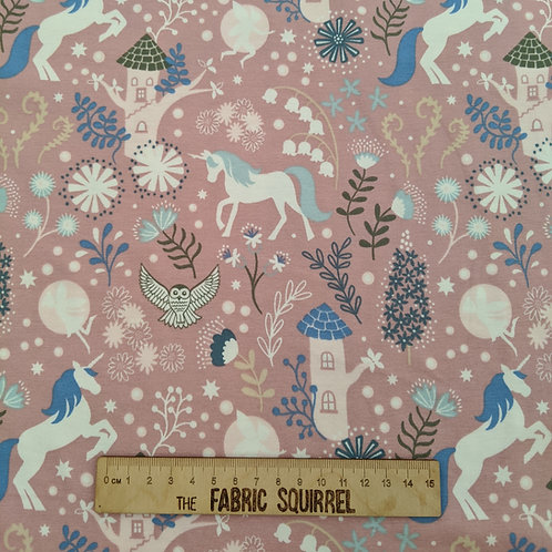 Pink Unicorn Jersey - Unicorns and Fairies Fabric by Lewis & Irene
