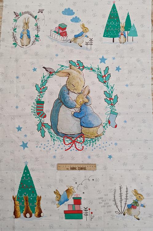 Peter Rabbit at Christmas Panel - Beatrix Potter Quilt Top