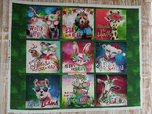 Sassy Holidays 9 Panel - Funny Animal Quotes 100% Cotton Fabric - Sassy Animals