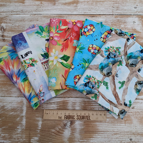 Party Animals by 3 Wishes Fabrics x5 Fat Quarters