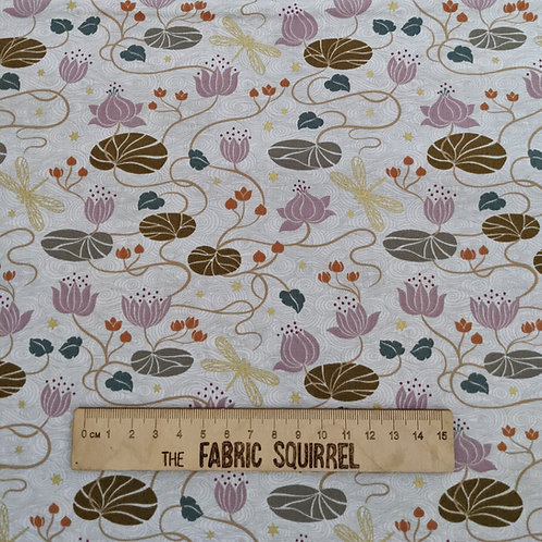 Lilies on Cream with Gold Metallic Fabric - Jardin De Lis from Lewis and Irene