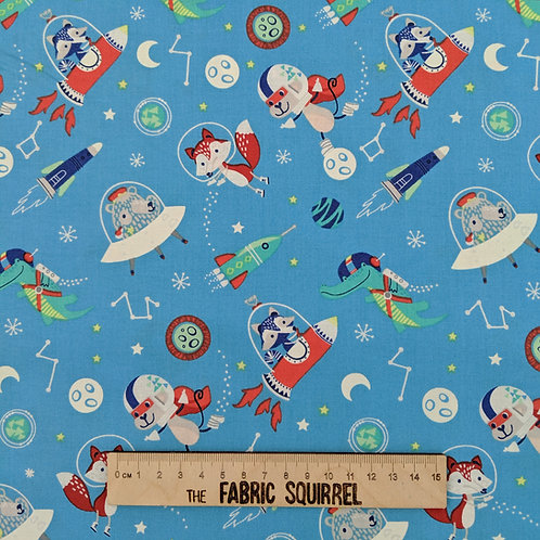 Light Blue Space Animals - Playground from Camelot Fabrics Out of This World Col