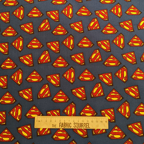Superman Fabric - Blue Red and Yellow Logo from Camelot Fabrics