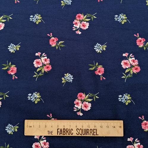 Royal Blue Floral Jersey - Organic Cotton Jersey