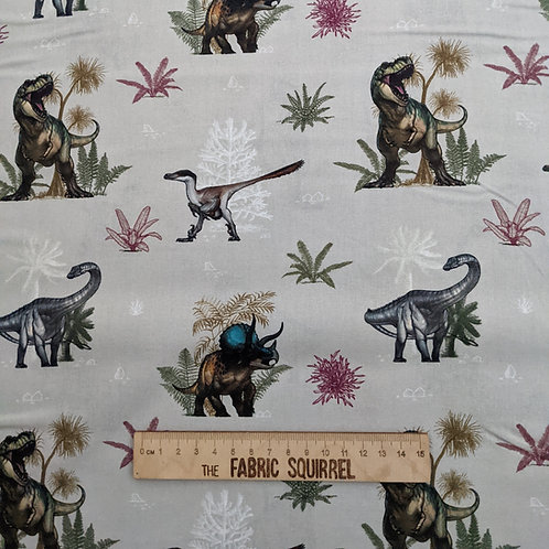 Dinosaur on Grey - Natural History Museum Fabric