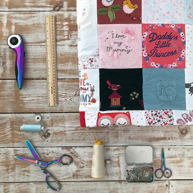 A quilt and tools of the trade