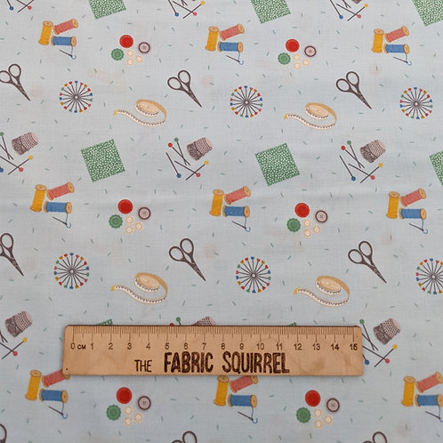 Light Blue Sewing Theme Fabric - Small World Crafts by Lewis and Irene