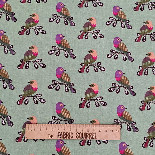 Colourful Birds on Mint Green - Meadow Birds Fabric Collection