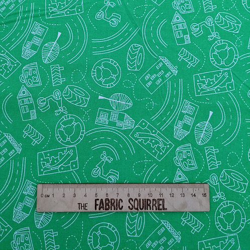 Green Road Fabric - Move N Along Fabric Collection