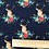 Thumbnail: Floral Deer / Stag Fabric in Navy Blue