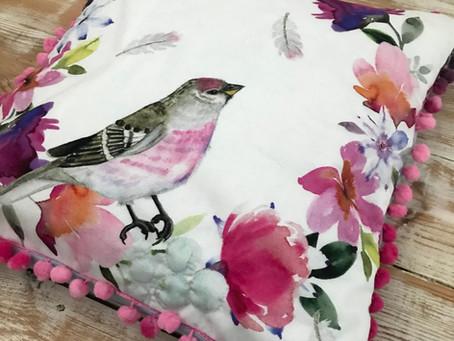 Bird Panel Pom Pom Cushion