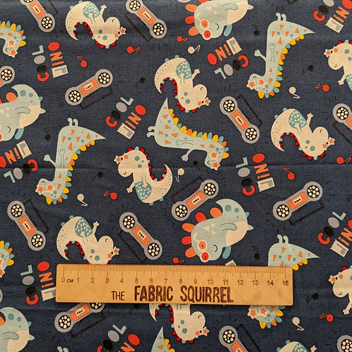 Cool Dino - Blue Dinosaur - Little Dino from Fabric Editions