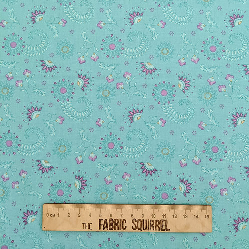 Aqua Blue with Pink Floral Paisley - Elegant Peacock from Sarah Payne