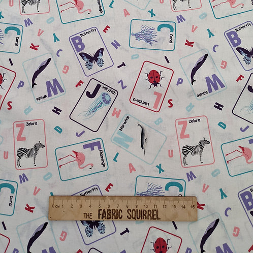 White Alphabet Animal Cards - Natural History Museum Fabric