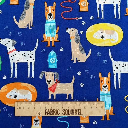 Royal Blue Dog Fabric - Best Friends Fur Ever