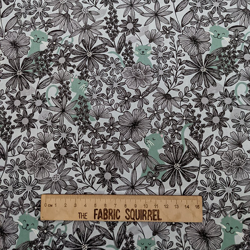 Blue Cat and Flower Fabric - Purrfect Petals by Lewis and Irene - Camouflage Cat