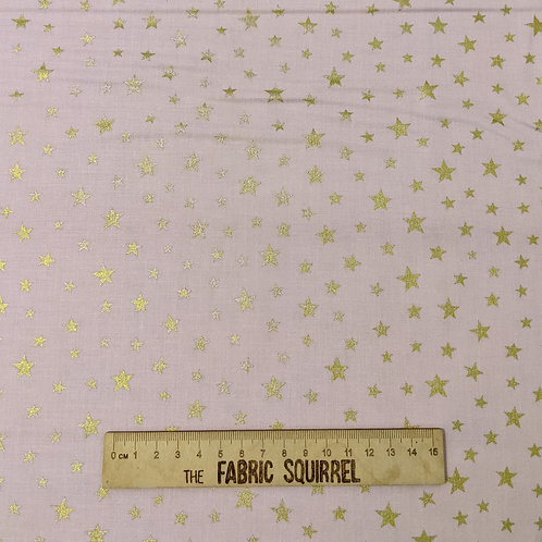 Pink and Gold Metallic Star Fabric - Lewis and Irene Marvellous Metallics