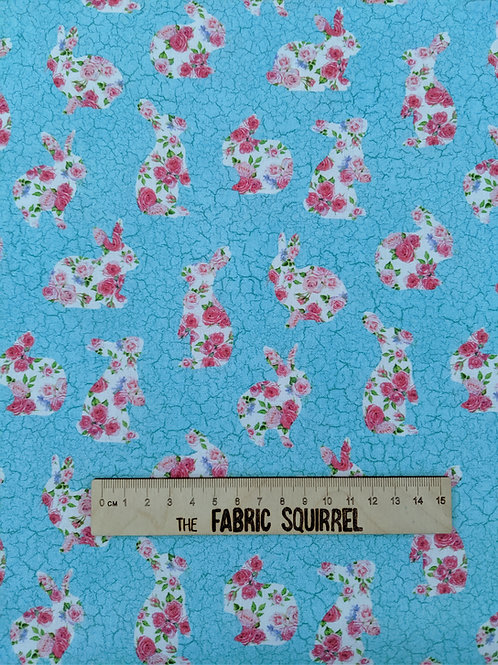 Bunny Love - Blue Floral Rabbit Fabric from Northcott