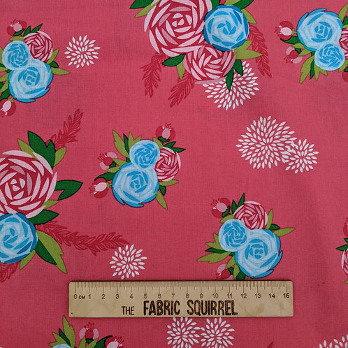Hot Pink Amazonia Fabric - Large Floral Print