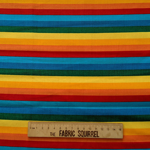 Rainbow Stripes - Happy Clouds and Rainbow Fabric