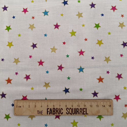White, Colourful and Metallic Star Fabric - Rainbows by Lewis and Irene