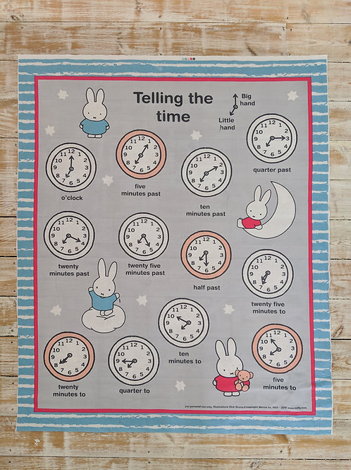 Miffy Tell The Time Quilt Panel