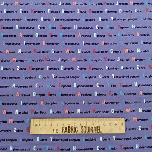Purple Words - Natural History Museum Fabric