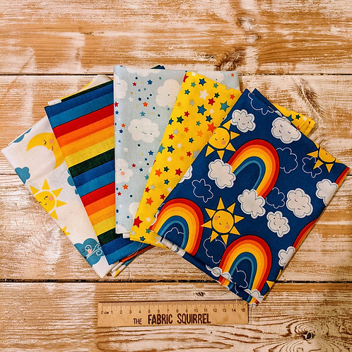 Happy Clouds and Rainbow Fat Quarter Bundle x5