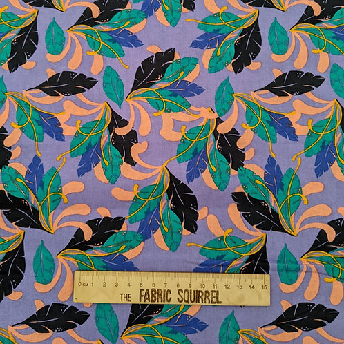 Tropical Leaves on Purple - Tropical Leopard Fabric Collection