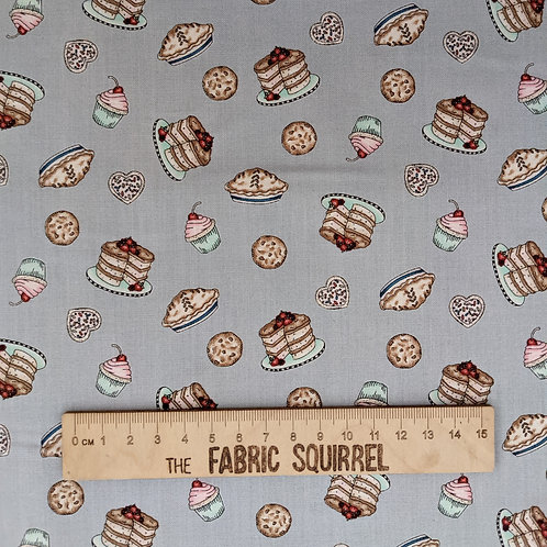 Grey Cake Fabric - Happiness in Homemade from Maywood Studios