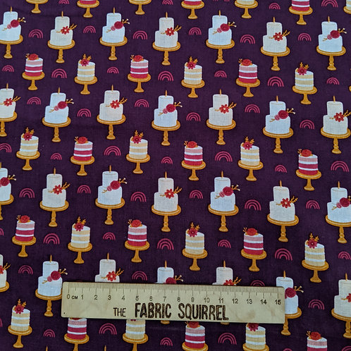 Purple Birthday Cake Fabric - Floral Birthday from Craft Cotton Company