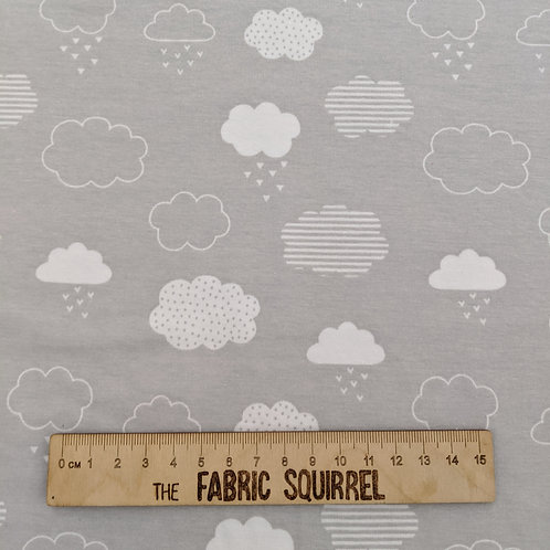 Grey and White Clouds - Organic Cotton Jersey