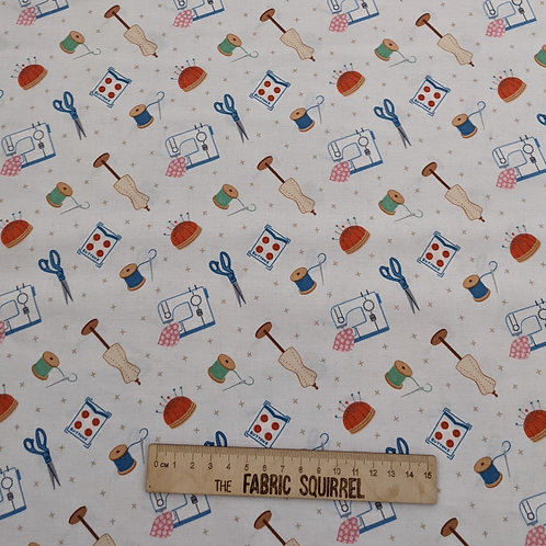 Cream Dressmaking Fabric - Small World Crafts by Lewis and Irene