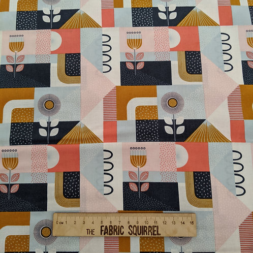 Geometric & Floral Fabric in Tan Navy and Coral - Forme Collection Lewis & Irene