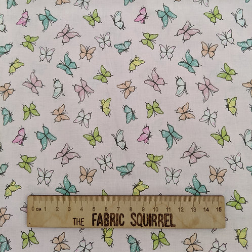 Pale Pink Butterfly Fabric - Playful Kittens by Craft Cotton Com