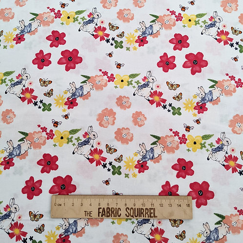 White Floral Peter Rabbit Fabric - Peter Rabbit Flowers and Dreams Fabric