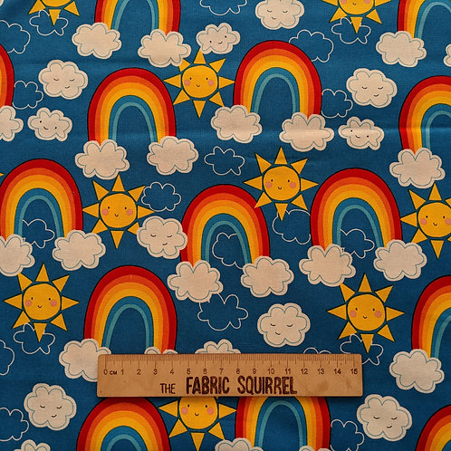 Rainbows on Blue - Happy Clouds and Rainbow Fabric
