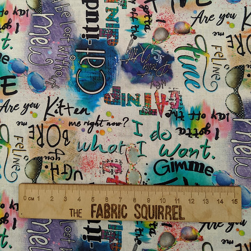 Graffiti  Cat Quotes - Good Kitty from 3 Wishes Fabric