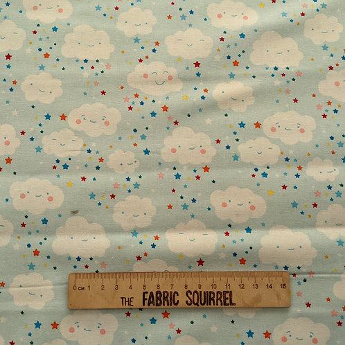 Smiley Clouds - Happy Clouds and Rainbow Fabric
