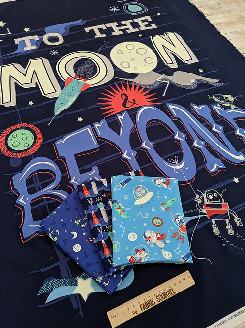 To the Moon and Beyond Quilt Panel - Glow in the Dark by Camelot Fabrics