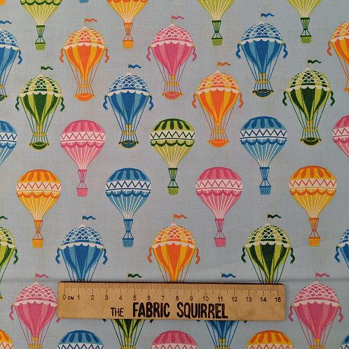 Hot Air Balloon Fabric on Blue - Colourful Balloons