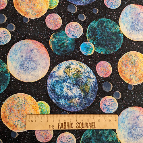 Celestial Planets Fabrics - Space Material from 3 Wishes Fabrics